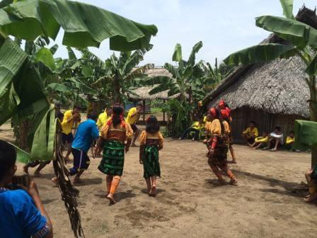 Kuna people dancing traditional dances in the Comarca of San Blas or Kuna Yala
