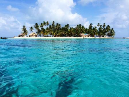 Swimming in crystal clear waters in the islands of San Blas